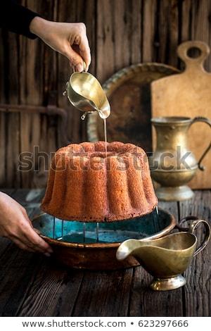 ラム酒 ケーキ スライス バニラ カスタード ストックフォト © Digifoodstock