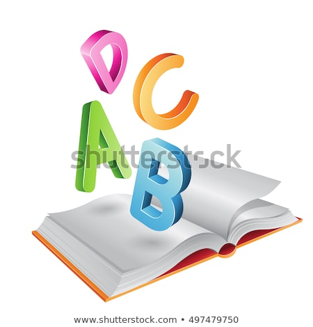 flying striped letters and open book stock photo © cidepix