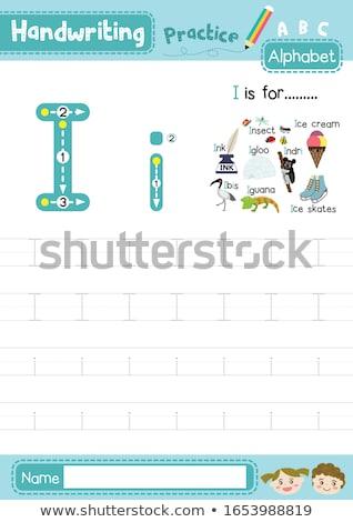 Letter i insect kinderen natuur kind achtergrond Stockfoto © bluering