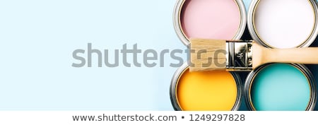Yellow paint brush and green bucket Stock photo © stevanovicigor