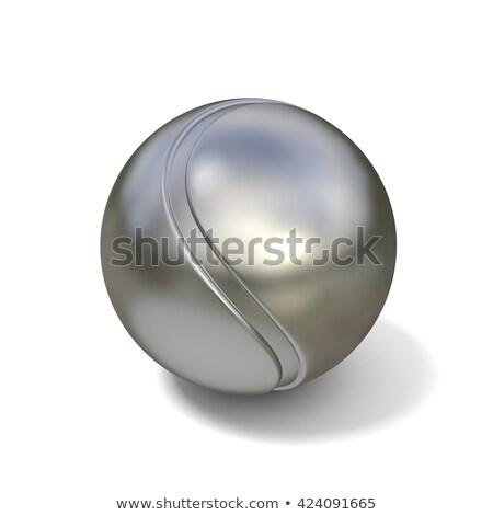 Prata bola de tênis isolado branco 3D ilustração 3d Foto stock © djmilic