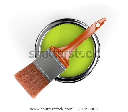 metal tin can with green paint and paintbrush top view 3d stock photo © djmilic