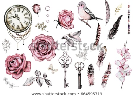 Foto stock: Relógio · rosas · vermelhas · ouro · jóias · dourado · folhas