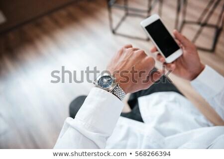 красивый · бизнесмен · молодые · телефон · ярко - Сток-фото © deandrobot