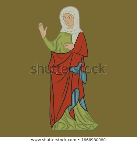средневековых Lady красное платье изолированный белый женщину Сток-фото © maia3000