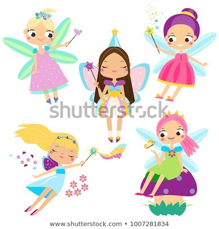 fadas · ilustração · bonitinho · arte · cartão · feminino - foto stock © maia3000