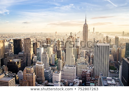 Manhattan vers le bas ville coucher du soleil chaud Photo stock © dawesign