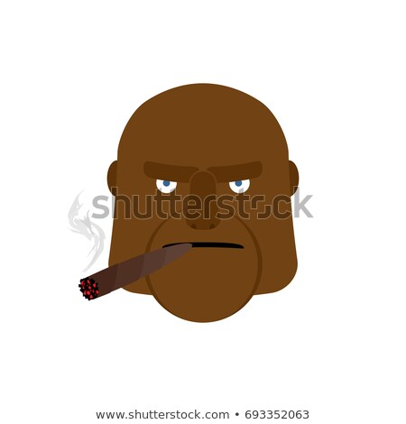 Angry man with cigar. Aggressive african face Stock photo © popaukropa