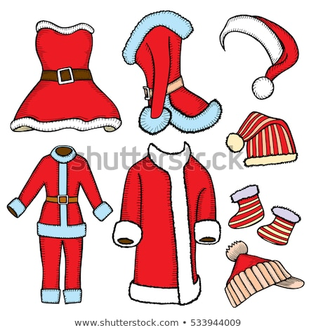 santa claus red hat with white line patch it stock photo © robuart