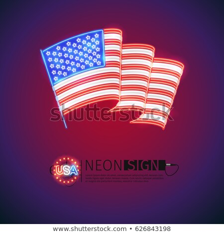 波状の · アメリカンフラグ · 実例 · パーティ · 青 · フラグ - ストックフォト © voysla