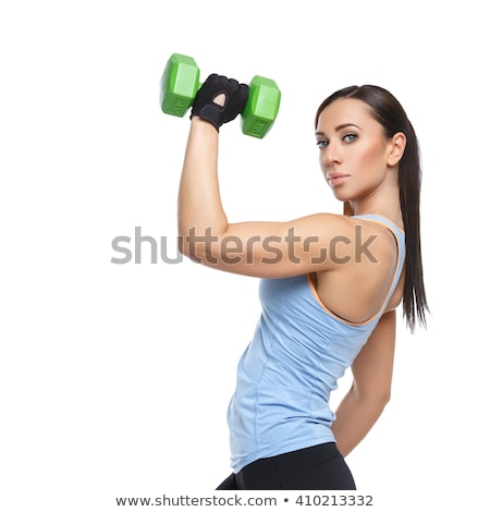 young pretty slim woman with dumbbell isolated stock photo © iordani