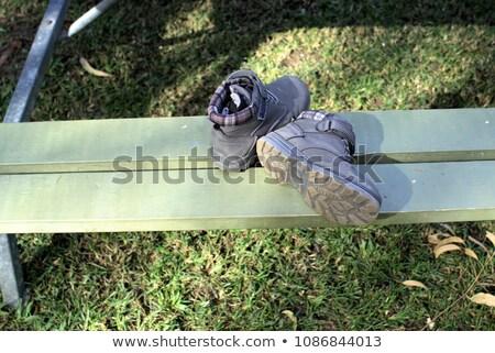 Pary buty skarpetki ławce Zdjęcia stock © wavebreak_media