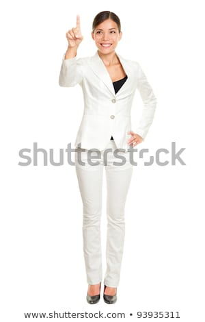 üzletasszony kisajtolás láthatatlan virtuális képernyő fehér Stock fotó © wavebreak_media