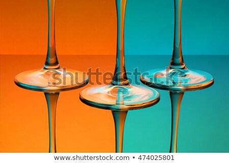 Glas blau Tabelle isoliert orange Bild Stock foto © deandrobot
