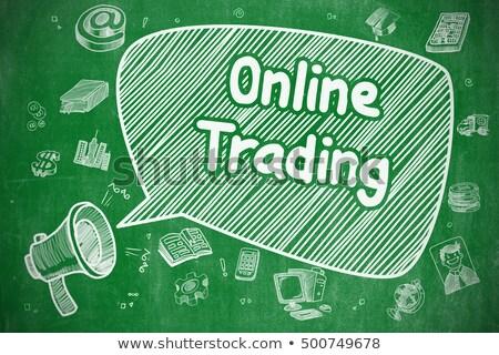 Online di trading doodle illustrazione verde lavagna Foto d'archivio © tashatuvango