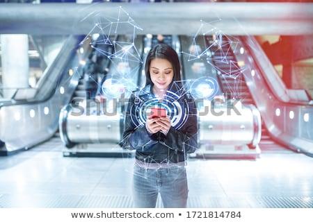 Nő mozgólépcső utazás jókedv portré szín Stock fotó © IS2