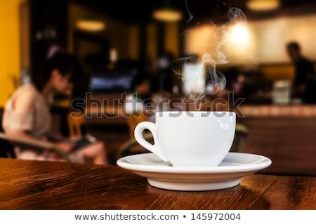 Donna coffee shop cornetto cafe mattina Foto d'archivio © IS2
