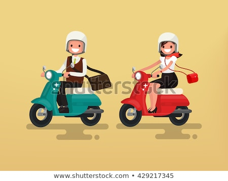 man on moped in paris stock photo © is2