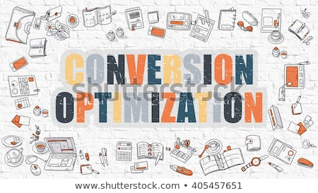 multicolor optimization on white brickwall doodle style stock photo © tashatuvango