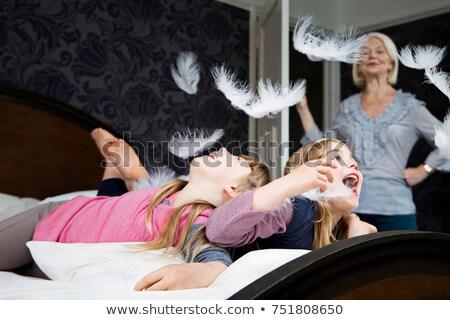 senior · mulher · porta · de · entrada · atraente · aperto · de · mãos · visitante - foto stock © is2