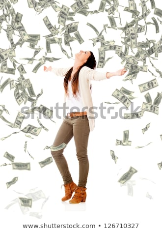 Money falling on business woman Stock photo © alexanderandariadna