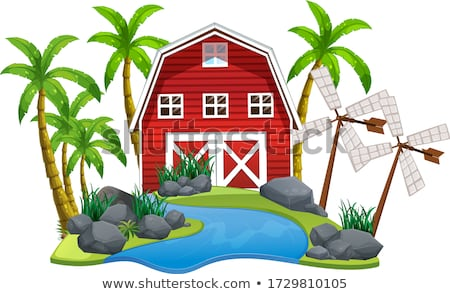 Background scene with barn and windmill on island Stock photo © bluering