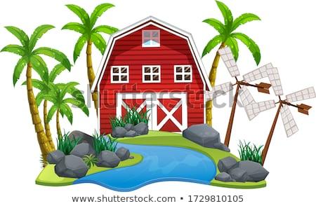 сцена сарай Windmill острове иллюстрация природы Сток-фото © bluering