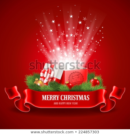 karácsony · illusztráció · ajándékdobozok · piros · fényes · ünnep - stock fotó © articular