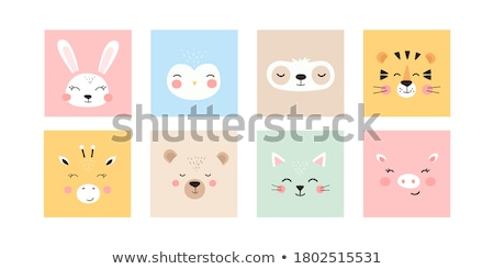 Animal set. Portrait of a bear in love. Flat graphics. Stock photo © FoxysGraphic