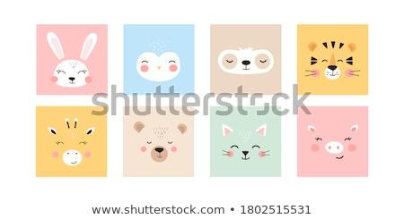 Stockfoto: Animal Set Portrait Of A Bear In Love Flat Graphics