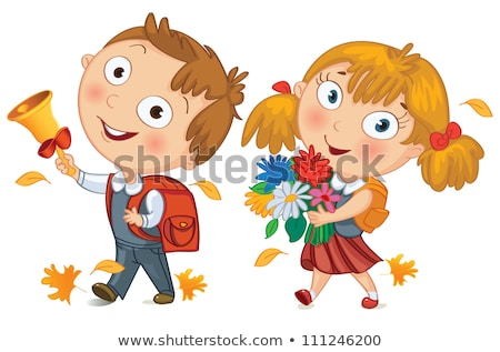 Boy smiling at girl holding flower Stock photo © IS2