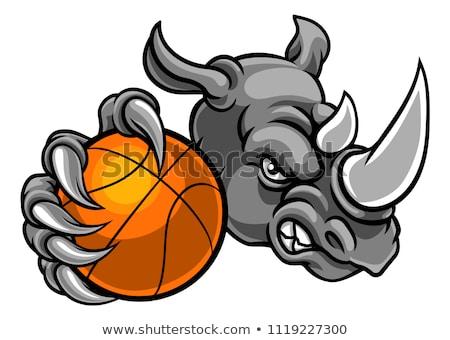 Rhino Holding Basketball Ball Mascot Stock photo © Krisdog