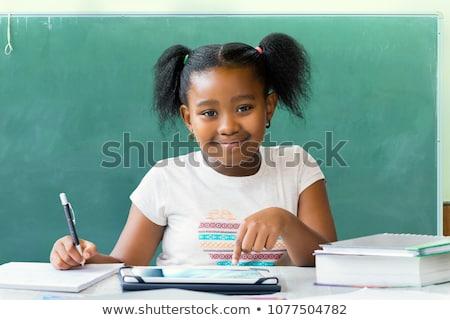 Uczennica pracy zestaw biurko różny uczucia Zdjęcia stock © toyotoyo