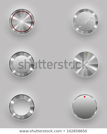 Set of Grey shiny buttons with metallic elements, vector design for website Stock photo © olehsvetiukha