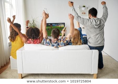 Foto d'archivio: Amici · calcio · tifosi · guardare · gioco · tv