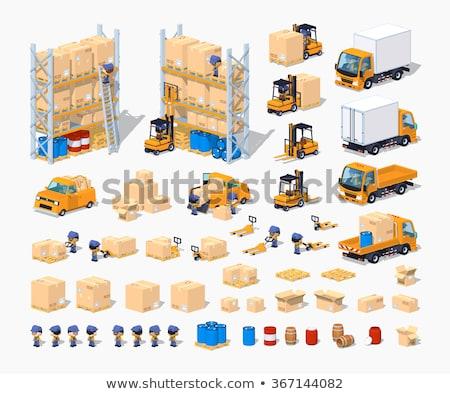 Stockfoto: Vrachtwagen · opslag · uitrusting · isometrische · fabriek