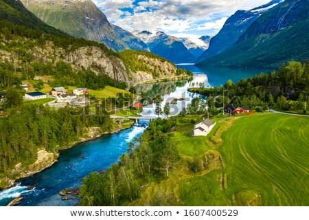 Göl vadi Norveç manzaralı manzara plaj Stok fotoğraf © Kotenko