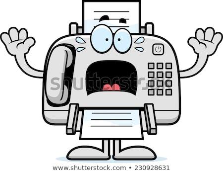 Scared Cartoon Fax Machine Stock photo © cthoman