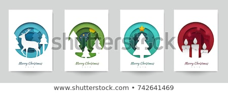 Foto stock: Merry Christmas - Modern Vector Paper Cut Illustration