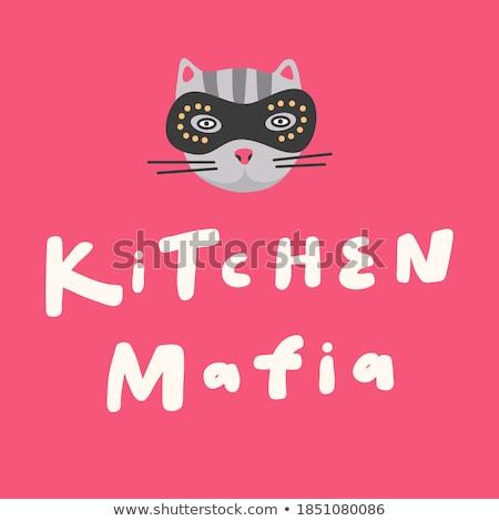 Cartoon uśmiechnięty złodziej kotek maska graficzne Zdjęcia stock © cthoman