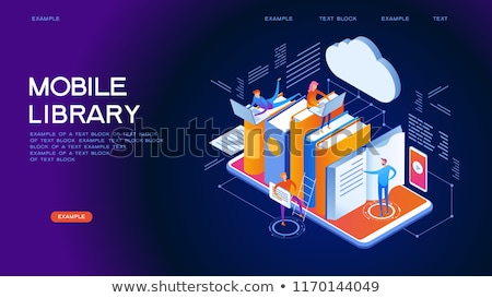 Online book store isometric flat vector concept. Stock photo © TarikVision