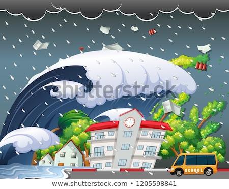 Tsunami escolas edifício ilustração água árvore Foto stock © bluering