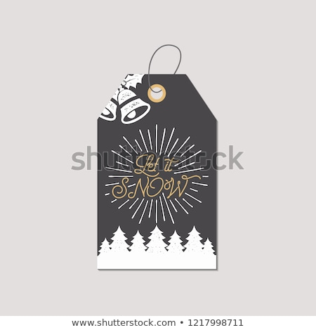 merry christmas and new year gift tag holiday card concept with xmas symbols   tree bells let it stock photo © jeksongraphics
