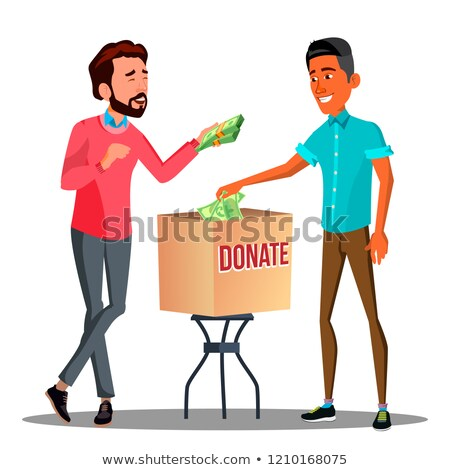 Deux affaires argent contribution boîte vecteur Photo stock © pikepicture