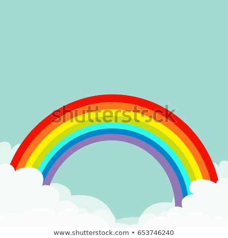 Abstract background with cartoon Rainbows and cloud frame. Vector illustration. Stock photo © Natali_Brill