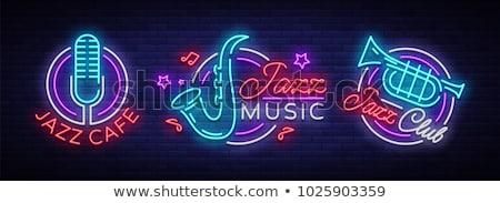 caz · kulüp · neon · müzik · tanıtım · dizayn - stok fotoğraf © Anna_leni