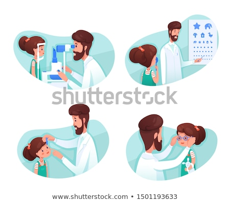 Optometrist Checking on a Kid Eyes Illustration Stock photo © artisticco