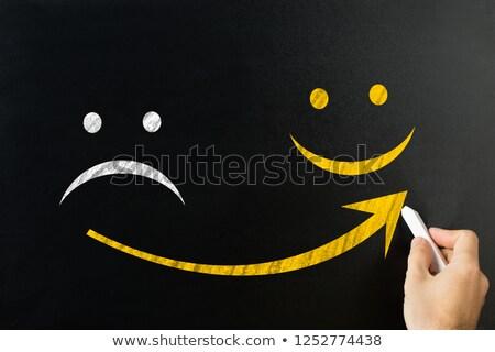 Mann Zeichnung arrow traurig glückliches Gesicht Stock foto © AndreyPopov