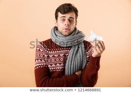 肖像 悲しい 病気 若い男 セーター スカーフ ストックフォト © deandrobot