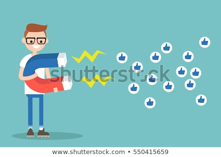 Stockfoto: Teenager Male On Social Media Vector Illustration